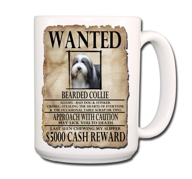 Bearded Collie Wanted Poster Coffee Tea Mug 15oz