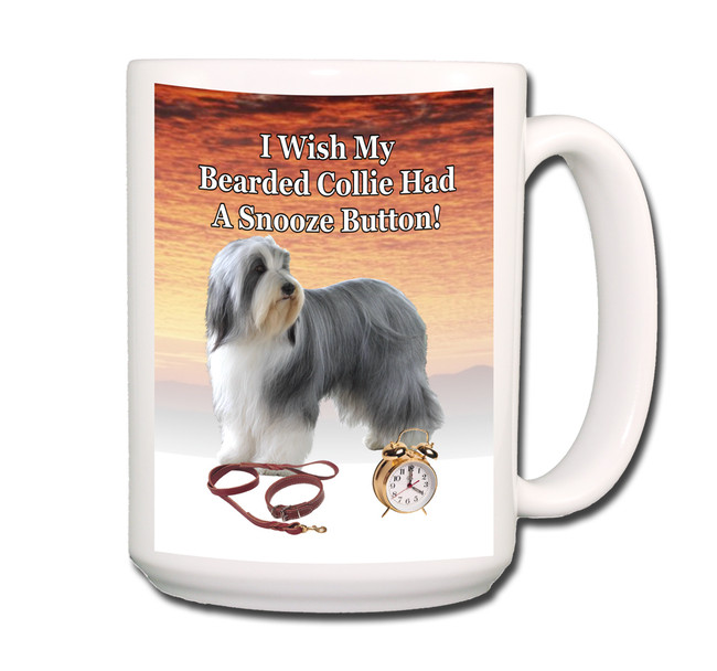 Bearded Collie Snooze Alarm Coffee Tea Mug 15oz
