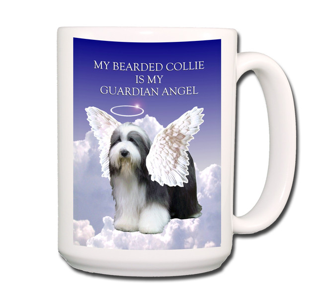 Bearded Collie Guardian Angel Coffee Tea Mug 15oz