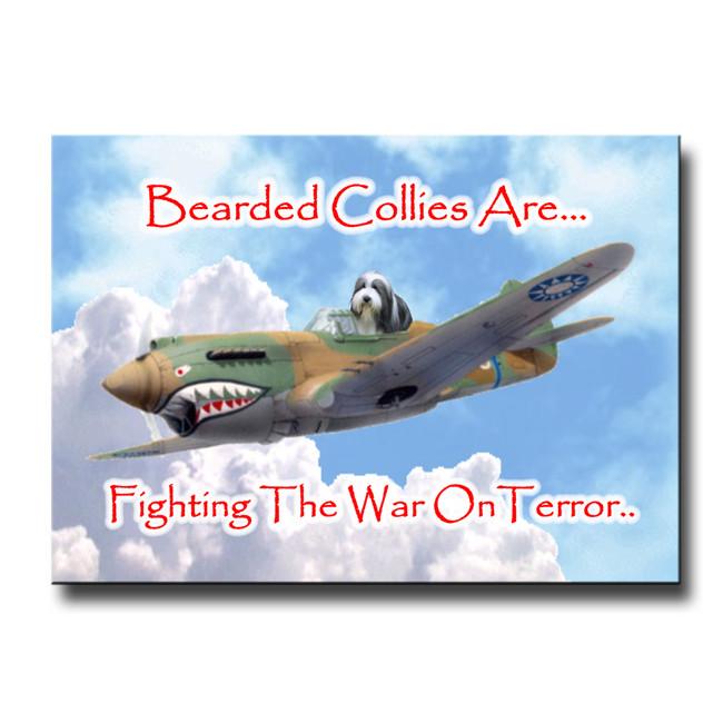 Bearded Collie War on Terror Fridge Magnet