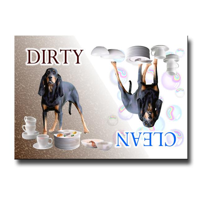 Black & Tan Coonhound Clean Dirty Dishwasher Magnet
