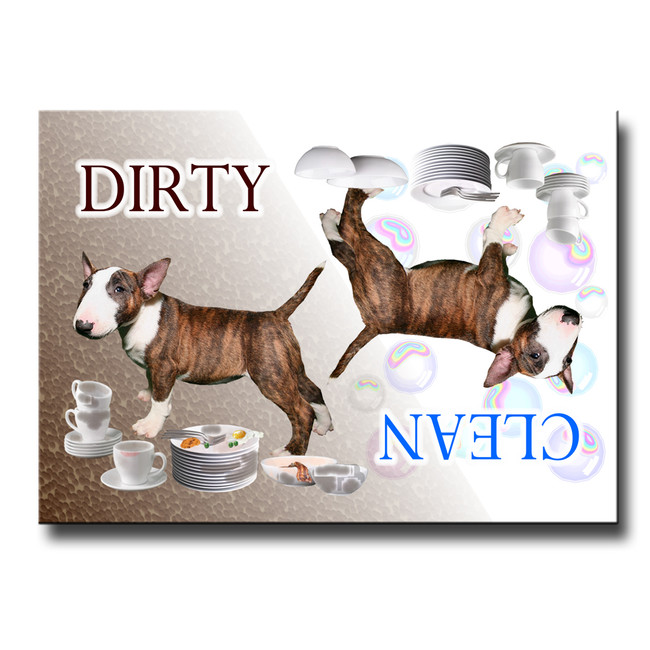 Bull Terrier Clean Dirty Dishwasher Magnet No 2