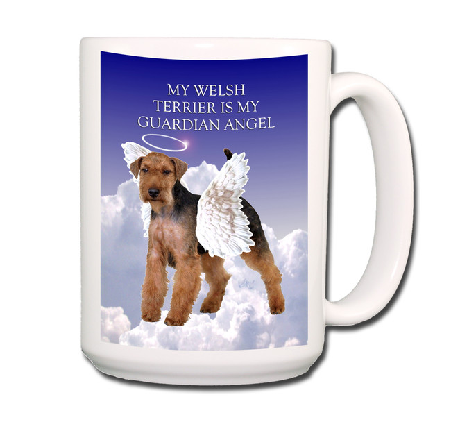 Welsh Terrier Guardian Angel Coffee Tea Mug 15oz