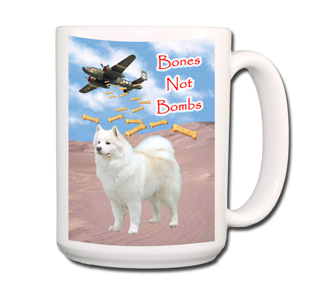 Samoyed Bones Not Bombs Coffee Tea Mug 15oz