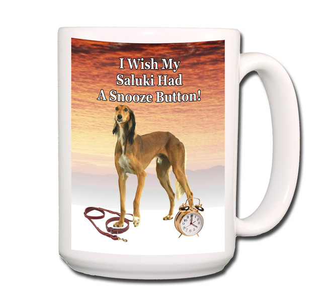 Saluki Snooze Alarm Coffee Tea Mug 15oz