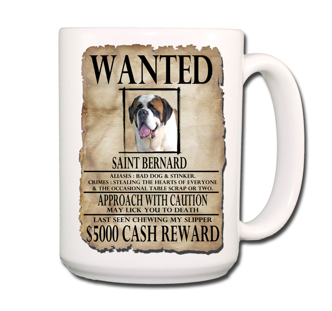 Saint Bernard Wanted Poster Coffee Tea Mug 15oz