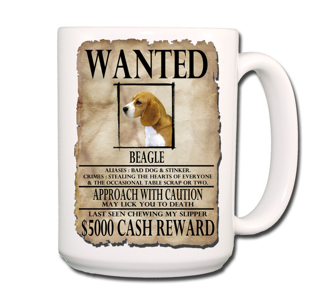 Beagle Wanted Poster Coffee Tea Mug 15oz