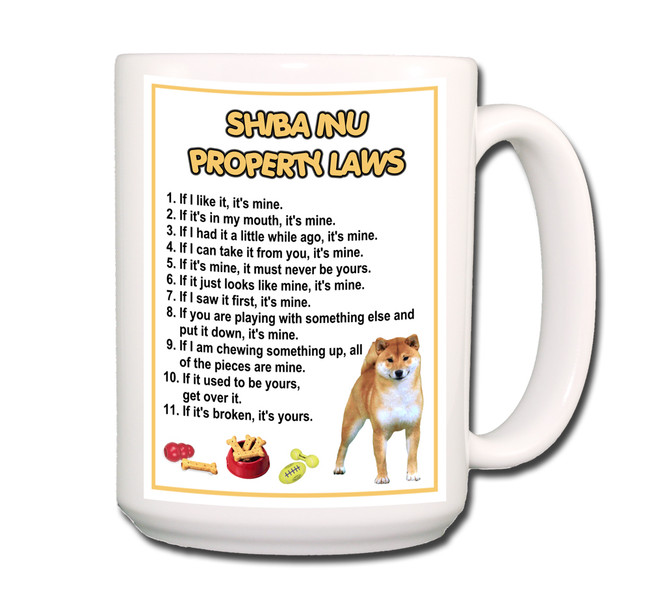 Shiba Inu Property Laws Coffee Tea Mug 15oz No 1