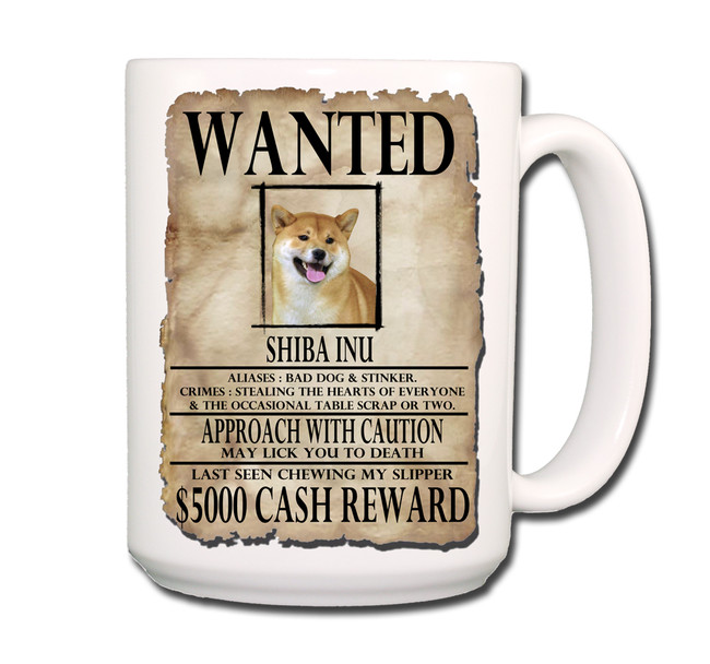Shiba Inu Wanted Poster Coffee Tea Mug 15oz No 1
