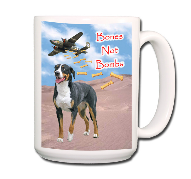 Greater Swiss Mountain Dog Bones Not Bombs Coffee Tea Mug 15oz