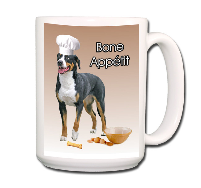 Greater Swiss Mountain Dog Bone Appetit Chef Coffee Tea Mug 15oz