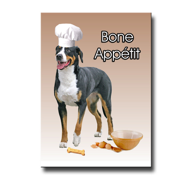 Greater Swiss Mountain Dog Bone Appetit Chef Fridge Magnet