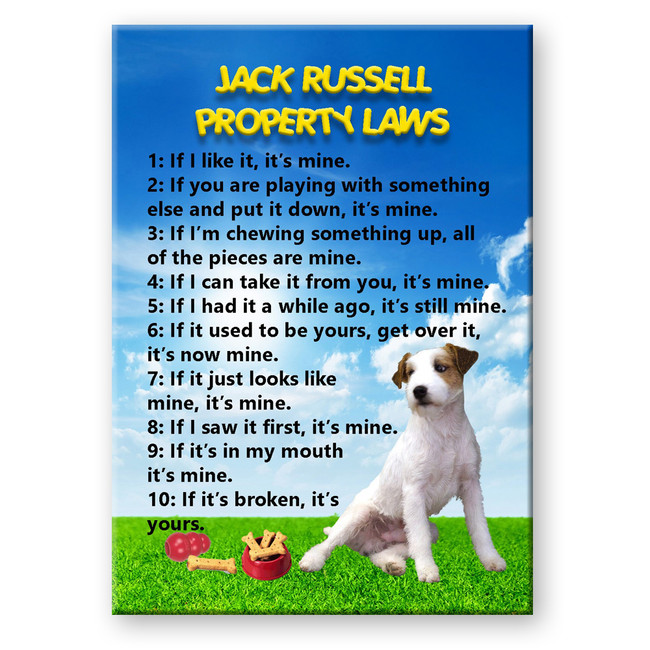 Jack Russell Terrier Property Laws Fridge Magnet