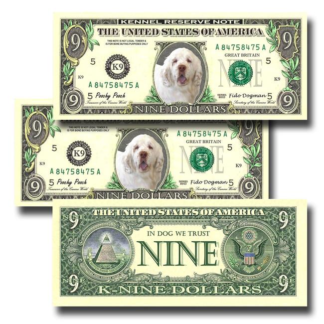 Clumber Spaniel Pack of 3 Novelty Nine Dollar Bills