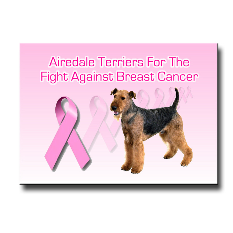 Airedale Terrier Breast Cancer Support Fridge Magnet