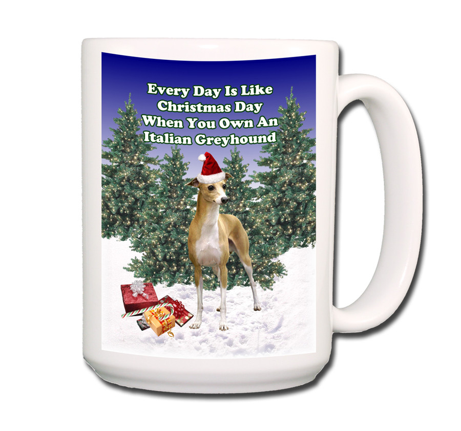 Italian Greyhound Christmas Holidays Coffee Tea Mug 15oz
