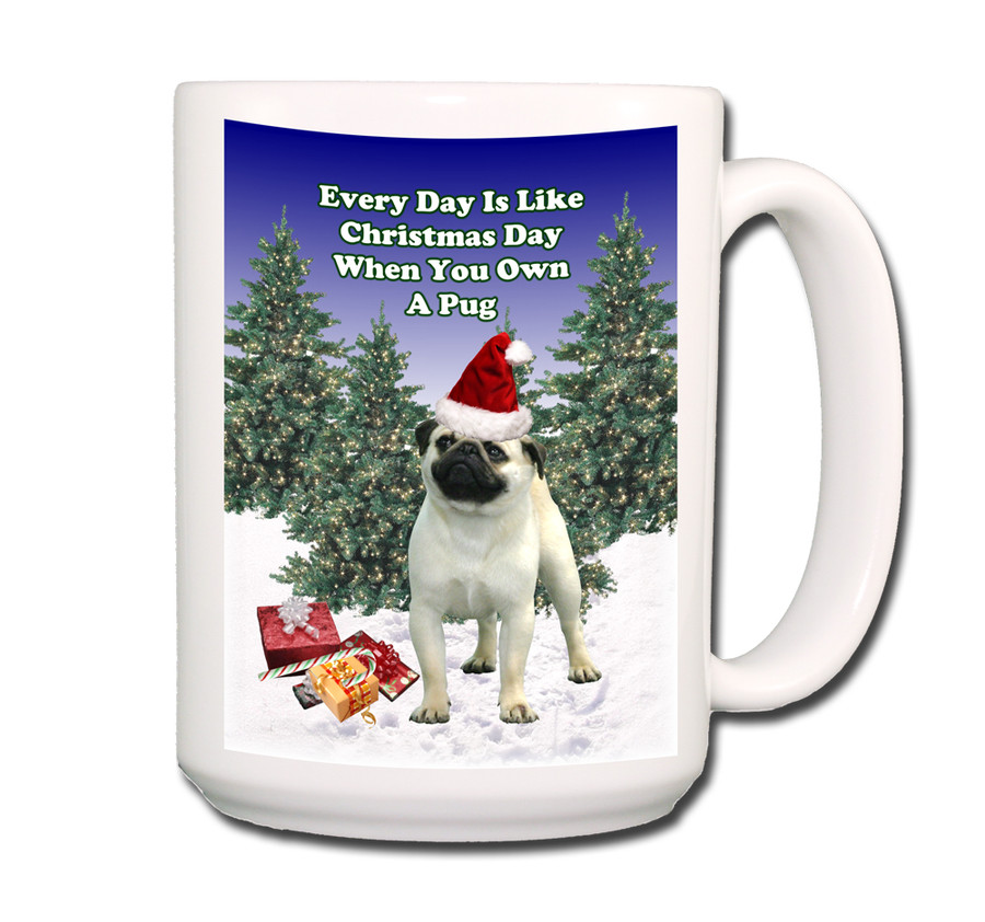 Pug Christmas Holidays Coffee Tea Mug 15oz (Fawn)