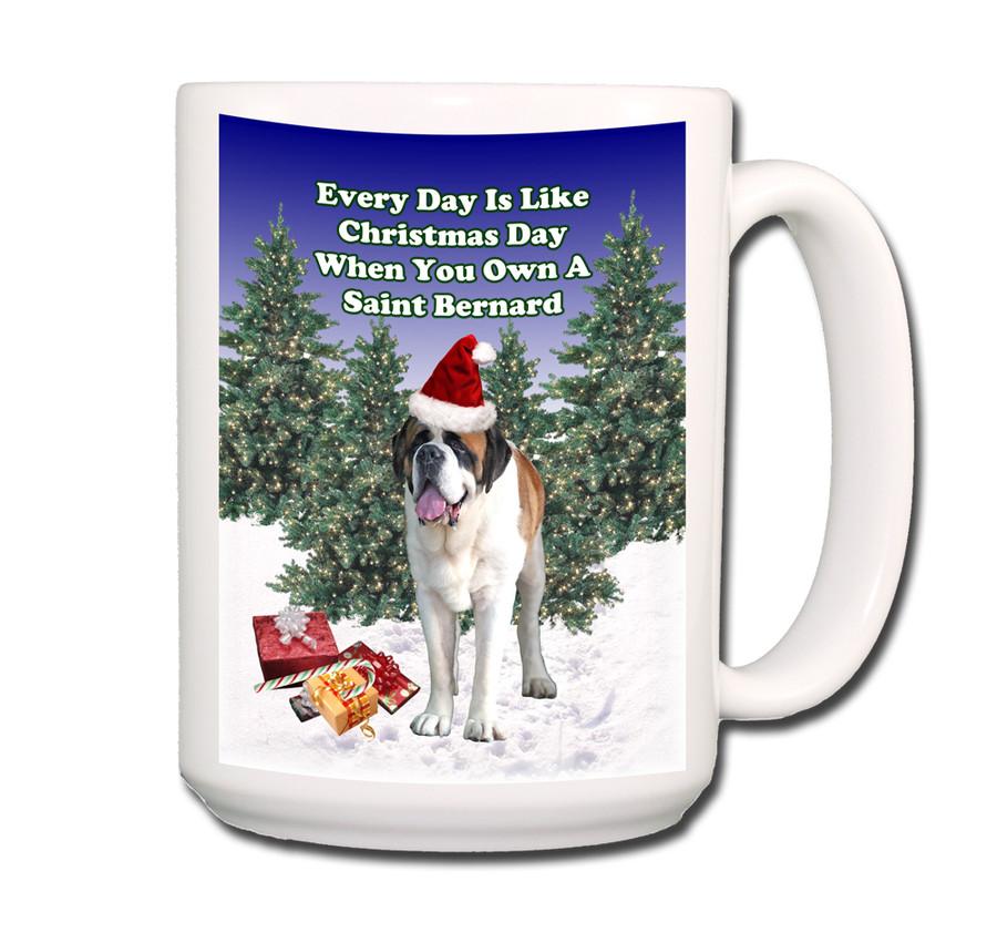 Saint Bernard Christmas Holidays Coffee Tea Mug 15oz