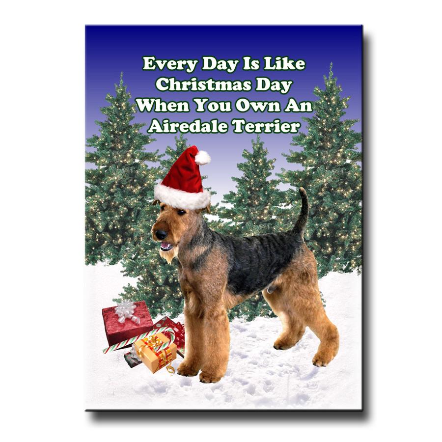 Airedale Terrier Christmas Holidays Fridge Magnet