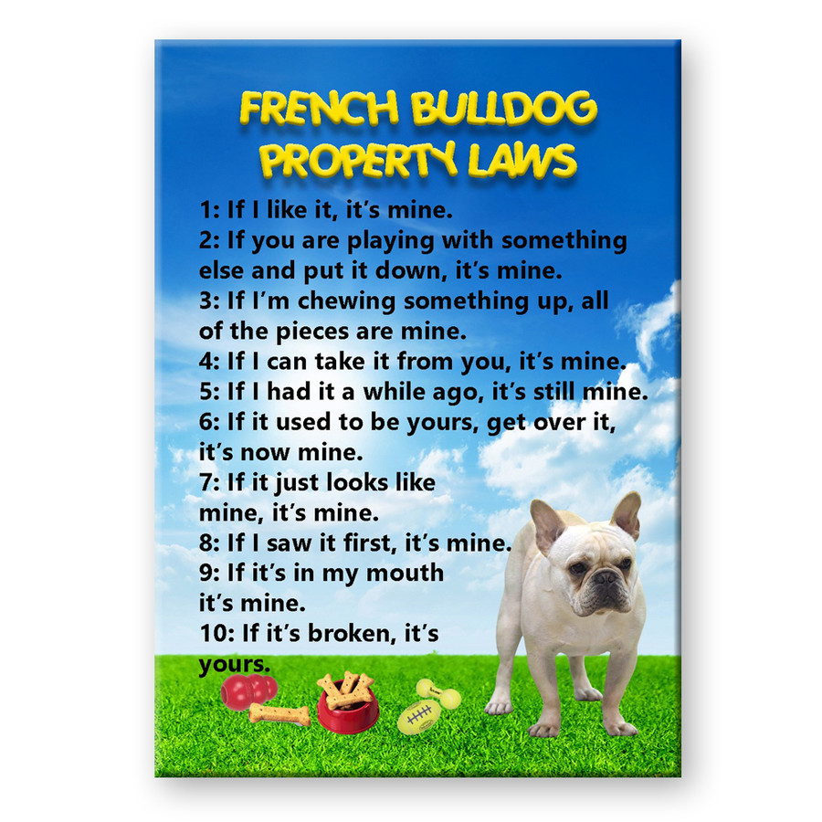French Bulldog Property Laws Fridge Magnet No 1