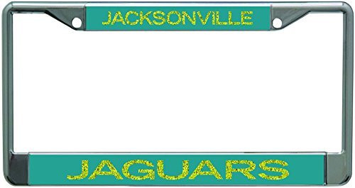 Jacksonville Jaguars Metal License Plate Frame with Glitter Design
