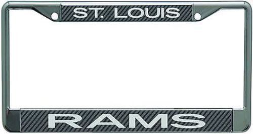 St. Louis Rams Metal License Plate Frame with Carbon Fiber Design