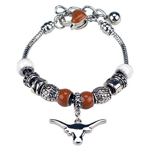 """Texas Longhorns 7"""" Deluxe Charm Bracelet with 2"""" extension"""