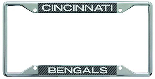 Cincinnati Bengals Metal License Plate Frame with Carbon Fiber Design