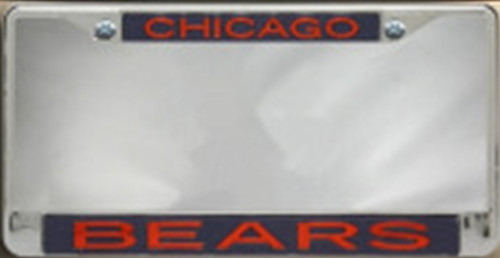 Chicago Bears Metal License Plate Frame with Glitter Design