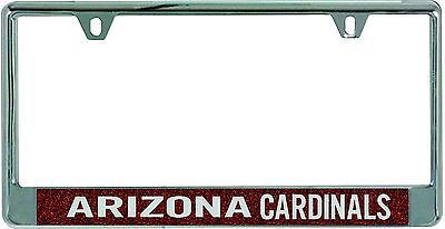 Arizona Cardinals Metal License Plate Frame with Glitter Design