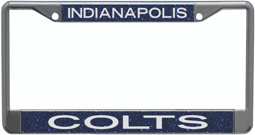 Indianapolis Colts Metal License Plate Frame with Glitter Design