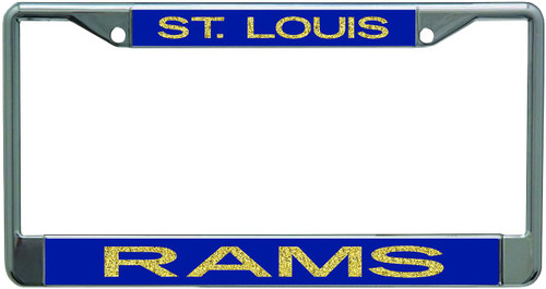 St Louis Rams Metal License Plate Frame with Glitter Design