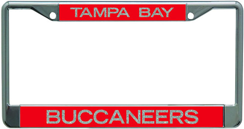 Tampa Bay Buccaneers Metal License Plate Frame with Glitter Design