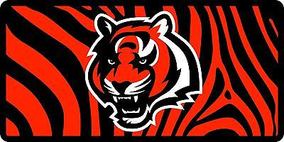 Cincinnati Bengals Inlaid Acrylic License Plate with Zebra Background