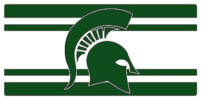 Michigan State Spartans Inlaid Acrylic License Plate with Stripe Design