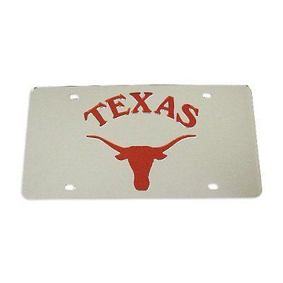 Texas Longhorns Silver Laser License Plate