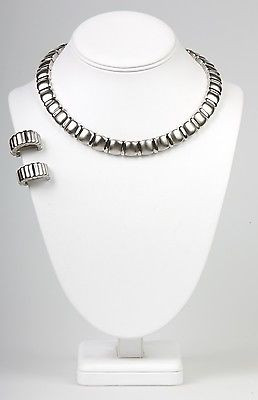 """Boutique Collection"" Clip Earring  Necklace Set-  Silver -NS1129S"