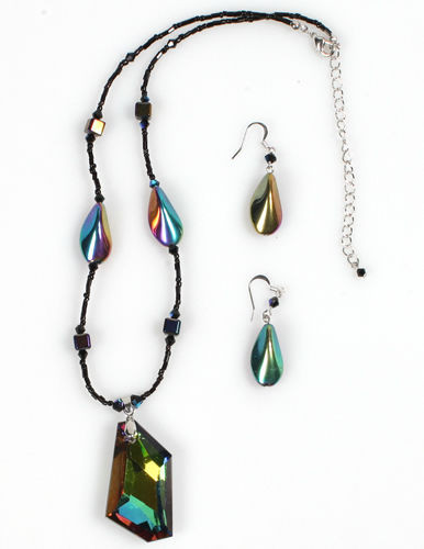 """Bewitching Iridescent"" Necklace Set - NS1114BK"
