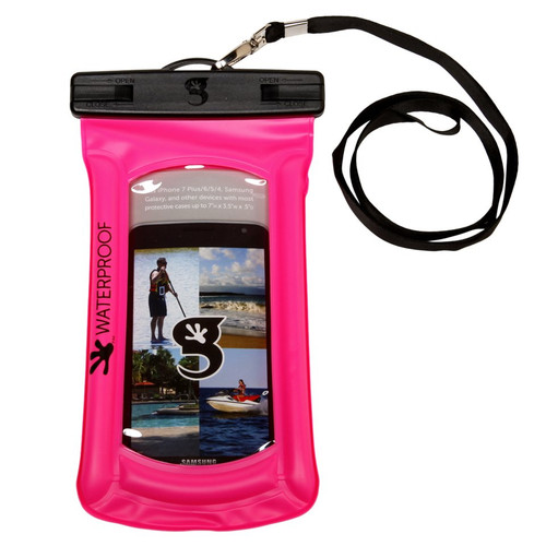Geckobrands Waterproof Float Phone Case - Bright Pink