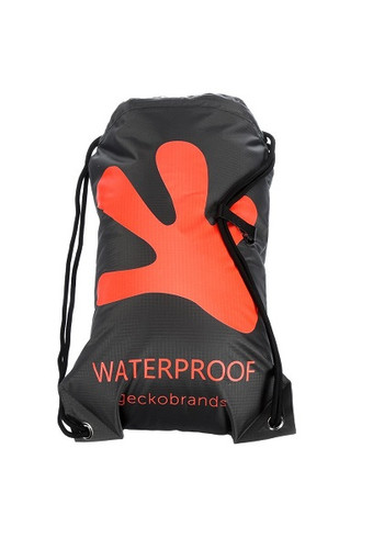 Geckobrands Waterproof Drawstring Backpack - Grey/Bright Orange