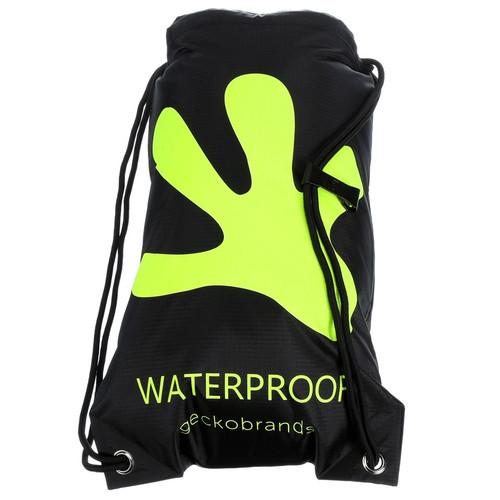 Geckobrands Waterproof Drawstring Backpack - Black/Bright Green