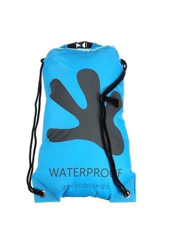 Geckobrands Waterproof Drawstring Backpack - Bright Blue/Grey