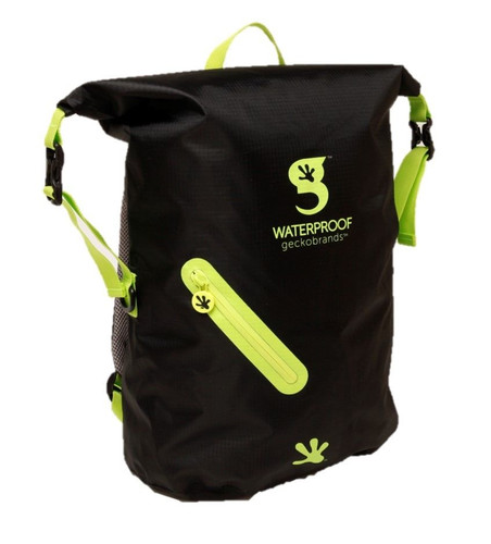 Geckobrands Waterproof Lightweight Backpack - Black/Bright Green