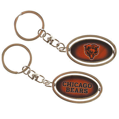 Official NFL Chicago Bears 2 inch Metal Spinner Keychain