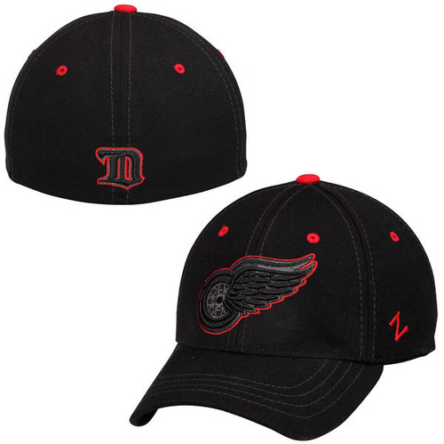 NHL Detroit Red Wings Black Element Stretch Fit Hat  [XL]