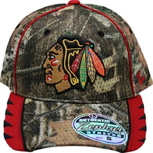NHL Chicago Blackhawks Camo Stretch Fit Hat  [XL]