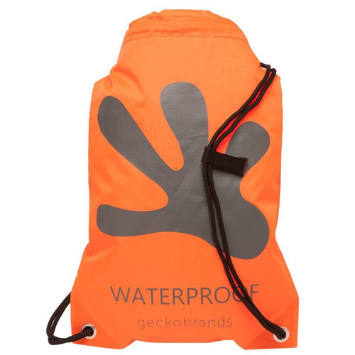 Geckobrands Waterproof Drawstring Backpack - Bright Orange / Grey