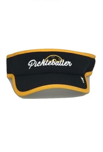 """Moisture Wicking All Sport Active """"Pickleballer"""" Visor - Black/Gold"""