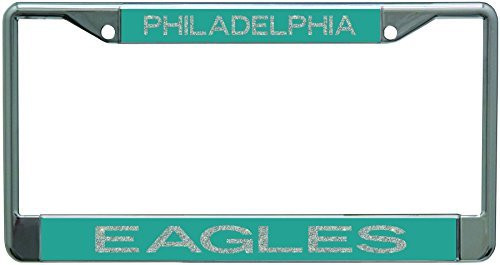 Philadelphia Eagles Metal License Plate Frame with Glitter Design