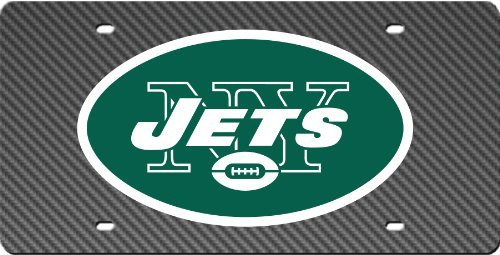 New York Jets Inlaid Acrylic License Plate with Carbon Fiber Design